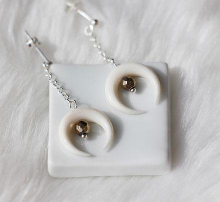 boucles d'oreille pyrite, boucles d'oreille argent 925, boucles d'oreille lune os taillé, boucles d'oreille pierre, bijou été
