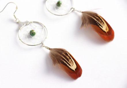 sarayana, bijoux attrape rêve, boucles d'oreille capteur de rêve, dreamcatcher, boucles d'oreille plume véritable, marron bleu, bijoux faits main, boucles d'oreille argent