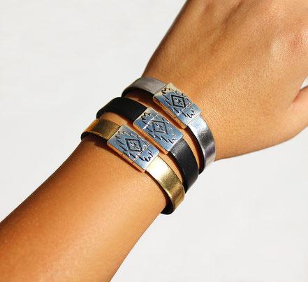 bracelet cuir argenté, bracelet cuir fermoir aimanté, bracelet aztèque, bracelet de créateur