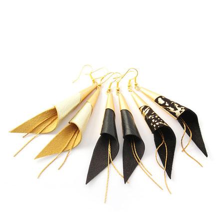 sarayana, bijoux fait main, boucles oreille cuir, bijoux cuir, doré, bijoux élégant, bijoux raffiné, boucles oreille cône, boucles oreille arum, arum de cuir, bijoux soirée, bijoux fête, plaqué or, bijoux  or, bijoux moderne,