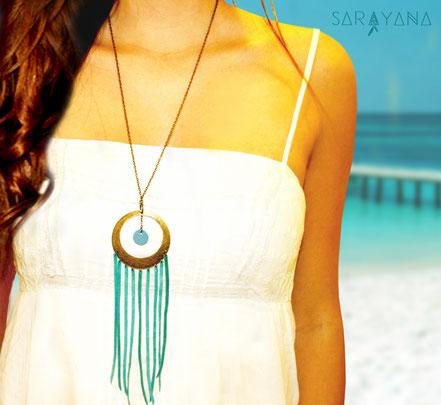 sarayana, bijoux cuir, sautoir cuir, sautoir franges, franges de cuir, sautoir turquoise camel, sautoir ethnique chic, sautoir hippie chic, sautoir été, bijoux fait main, création bijoux, créateur bijoux
