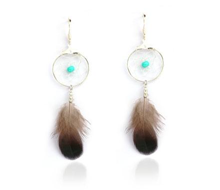 sarayana, boucles d'oreille attrape rêve, dreamcatcheur, capteur de rêve, bijoux fait main, mini attrape rêve, bijoux fin, élégant, rafiné, plume véritable