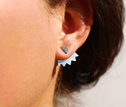 boucles d'oreille puce, boucles d'oreille triangle, boucles d'oreille cuir holographique, bijoux de lobe, boucles d'oreille devant-derrière, bijoux géométrique, bijoux tendance, bijoux été