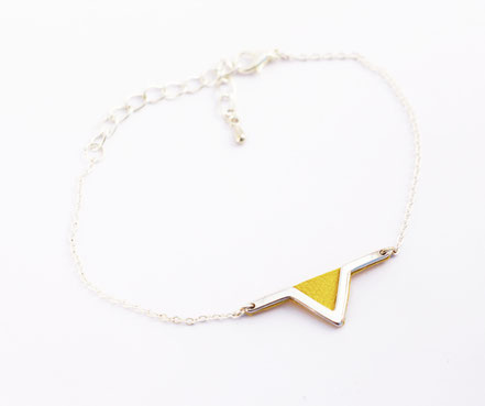 sarayana - bracelet triangle géométrique - cuir véritable jaune - fait main - bijou femme