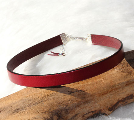 collier tour de cou, ras du cou, choker necklace, collier cuir bordeaux, collier minimaliste, collier de chien