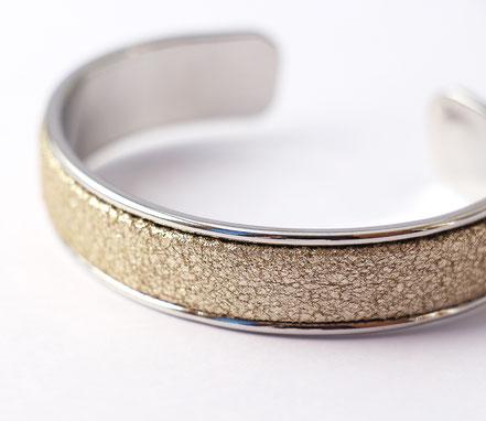 bracelet jonc, bracelet cuir, doré et argenté, bracelet cuir doré brillant, cadeau noël, bijoux de fête