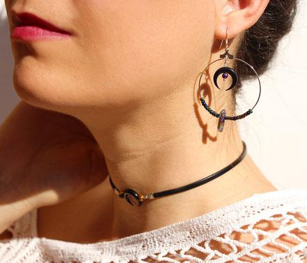 boucles d'oreille créole, boucles d'oreille lune noire corne taillée, boucles d'oreille argent, bijoux boho, boucles d'oreille pierre hématite arc en ciel