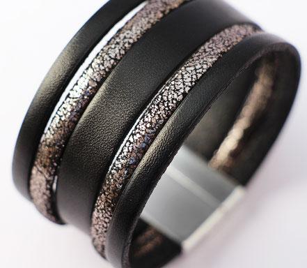 bracelet manchette de soirée, noir et argent, bracelet de créateur original, bracelet multirang, bracelet moderne élégant