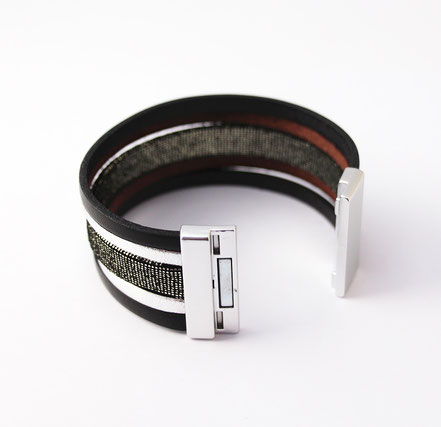 bracelet manchette de soirée, bracelet multirangs cuir, bracelet noir et argent, bracelet de créateur original, bracelet à paillettes, bijoux de soirée à paillettes