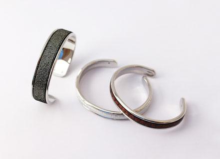 bracelet jonc argenté, bracelet jonc cuir, bracelet cuir argent, bracelet de créateur en cuir, cadeau noël femme