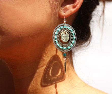 bijoux créateur, bijou fait main, bijoux cuir, créateur de bijoux, créatrice bijou, boucles d'oreille cuir, bijoux mint doré, boucles d'oreille argentées, boucles d'oreille créôle, boucles d'oreille argent, bijoux plume, plume argent, sarayana,