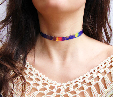 collier ras du cou, collier court, collier tour de cou, collier hollographique,hollographic choker necklace,