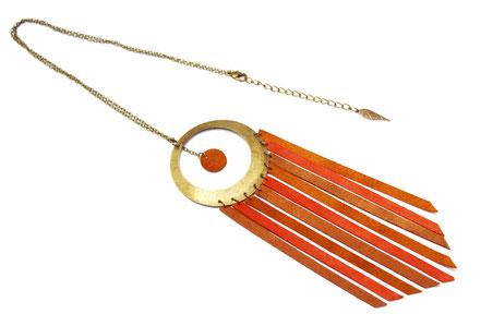 bijoux cuir, sautoir cuir, sautoir marron, sautoir ethnique, sautoir hippie chic, bijoux ethnique, bijoux cuir, bijoux fait main, création bijoux, bijoux de xréateur,