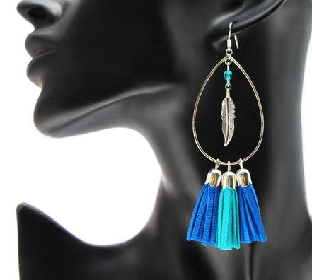 sarayana, bijoux cuir, boucles d'oreille cuir, création bijoux, créateur bijoux, bijoux fait main, boucles d'oreiille bleu électrique, bleu turquoise, pompon cuir, boucles d'oreille créoles, boucles d'oreille argent