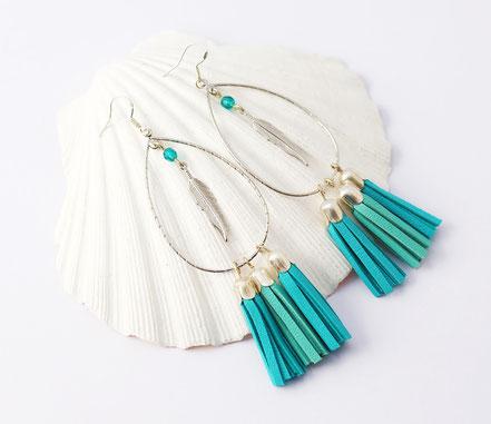 sarayana, création bijoux, bijoux cuir, créateur bijoux, boucles d'oreille cuir, boucles d'oreille pompon, boucles d'oreille argent, bijoux bohème, ethnique, gipsy, boucles d'oreille mint argent turquoise