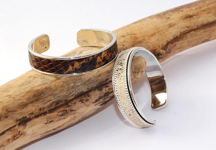bracelet jonc, jonc de cuir, bracelet cuir python, jonc argent, bracelet de soirée, cadeau noël femme