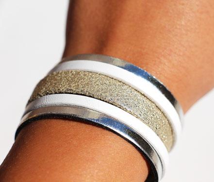 bracelet manchette cuir, blanc et argenté, bracelet large, bracelet multirangs cuir, bracelet soirée, créateur bijoux cuir