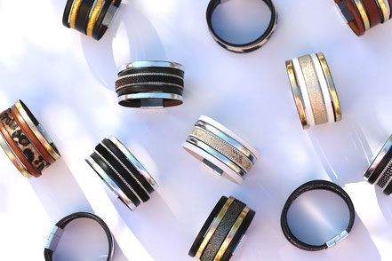 bracelet manchette noir et or, bracelet en cuir noir et doré, bracelet multirang, bracelet moderne, bracelet de soirée, bracelet de créateur en cuir