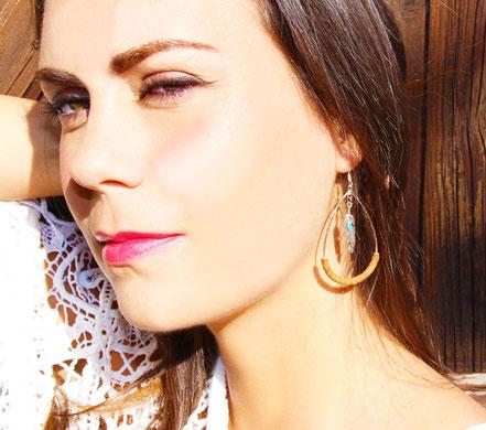 sarayana, bijoux cuir, boucles d'oreille goutte créole, cuir véritable, ethnique chic, amérindien, bijoux femme, plume argent, bijou fait main, boho chic, ethnique chic