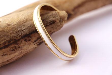 jonc doré, jonc cuir blanc, bracelet blanc et or, bracelet en cuir, sarayana