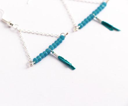 sarayana, bijoux créateur, création bijoux, bioux fait main, créateur de bijoux, boucles d'oreille triangle, bijoux triangle, bijoux géométrique, bijou moderne, boucles d'oreille turquoise, boucles d'oreille argent,