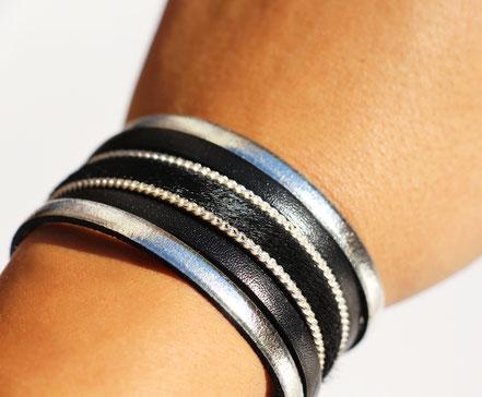 manchette en cuir noir et argenté, cuir à poil, bracelet multirangs cuir, bracelet multitours, bracelet de créateur en cuir, sarayana