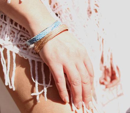 bracelet plaqué or, bracelet cuir, bracelet or rose, bracelet bangle, bracelet été, bracelet doré