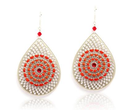 sarayana, bijoux cuir, boucles d'oreille cuir, boucles d'oreille goutte, boucles d'oreille argent, boucles d'oreille rouge, bijoux fait main, création bijoux, créateur bijoux