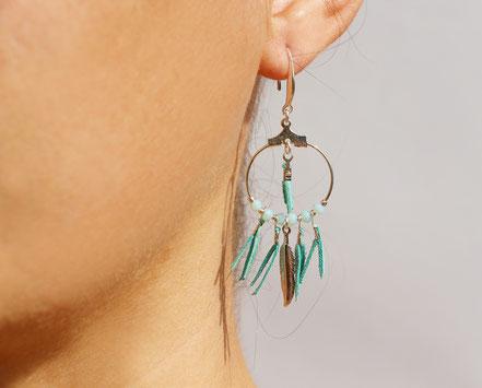 boucles oreille cuir, boucles oreille argent, boucles oreille plume, boucles oreille ethnique, bijoux fait main, bijoux ethnique-chic, bijoux raffiné, boucles d'oreille élégantes, bijoux cristaux de verre, bijoux franges de cuir, bijoux créateur,