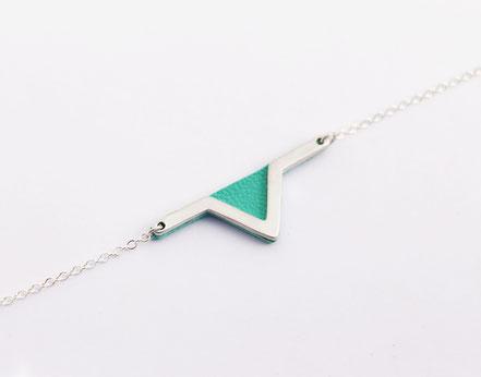 bracelet aztèque - triangle géométrique - cuir véritable - mint - fait main - bijou femme