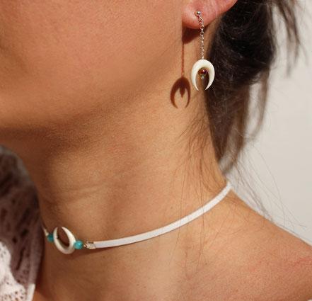 boucles d'oreille chaine argent, boucles d'oreille lune os taillé blanc, boucles d'oreille argent sterling, bijou été, bijou de créateur