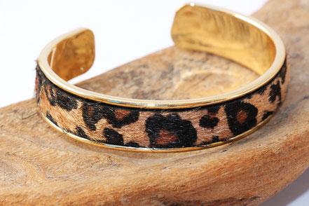 bracelet jonc, jonc cuir et métal, bracelet jonc doré, bracelet plaqué or, bracelet léopard, cuir léopard,