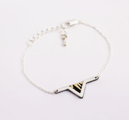 sarayana - bracelet triangle géométrique - cuir véritable - noir doré argenté - fait main - bijou femme