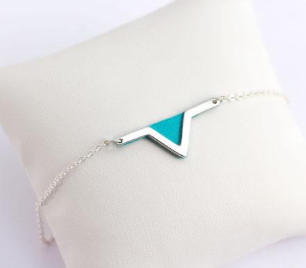 sarayana - bracelet triangle géométrique - cuir véritable turquoise - fait main plaqué argent- bijoux femme- style aztèque