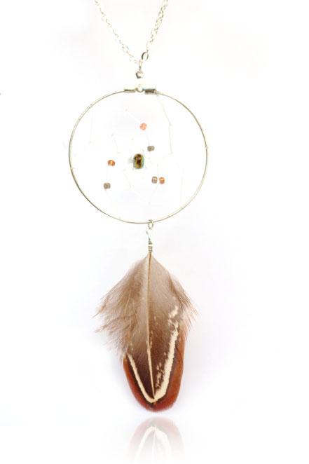 bijoux attrape rêve, collier capteur de rêve, sautoir dreamcatcher, collier long, bijoux fait main, collier plumes, perles miyuki, sarayana, marron bleu