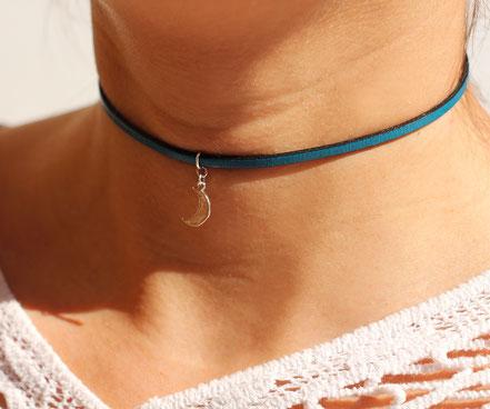 collier lune argent, collier tour de cou, ras du cou, collier cuir bleu,