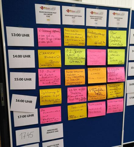 Der Sessionplan vom BarCamp Bonn 2018