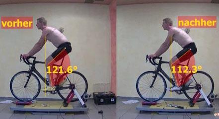 Überprüfung der Sitzhaltung auf dem Fahrrad, zur Vermeidung von Fehlstellungen, die zu Beschwerden führen können, Dokumentation aus 1 Perspektive, Live auf der Rolle mit Bike Rotator, Raddrehteller aus unserem Sortiment