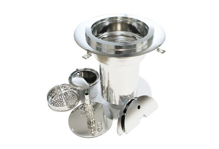 Drain incl. accessories and adhesion flange for operating theatres and urological facilities