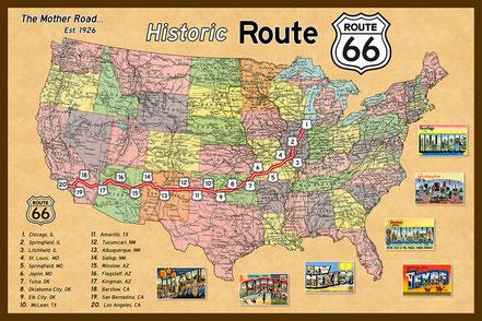 Die Strecke der alten Route 66 von Chicago nach Los Angeles