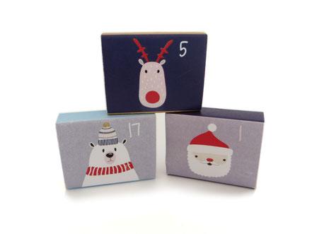 Adventskalender Weihnachstkalender Mädchen Frauen Schachteln Pappe Eisbär Elch Weihnachtsmann