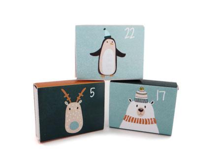 Weihnachtskalender Adventskalender Junge Jungs Mann Männer Schachtel Schachteln Pappe Papier Motive Streichholz
