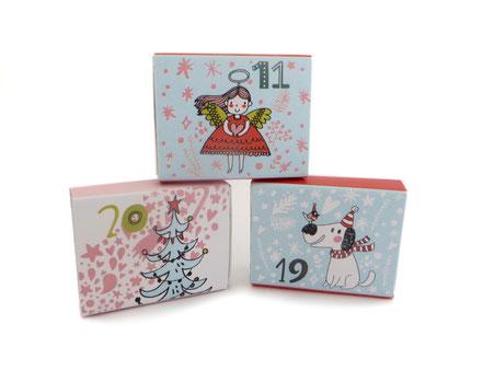 Adventskalender Doodle Weihnachtskalender Nikolaus Geschenk Mädchen Frauen Frau Kinder Engel Schachteln bunt Pappe