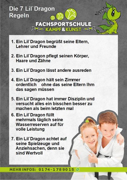 Unsere Little Dragon Regeln. Der Kampfsport fördert die Kinder um eine Starke Persönlichkeit aufzubauen.