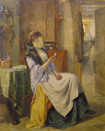 Young Emmeline Young  Contemplation Girl in a chair - w/c 23.5x19.5