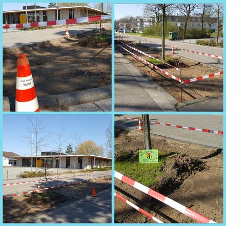 Beet neben der Grundschule Frauenweiler, vorbereitet zur Bepflanzung