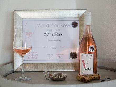 Domaine Vendange Vins de Savoie - Rosé Mademoiselle A médaille Argent Mondial du Rosé 2016