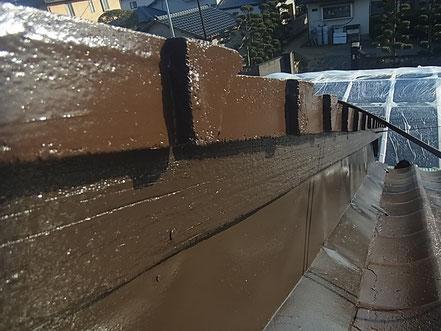 熊本市T様家の幕板塗装完成。ブラウンカラー
