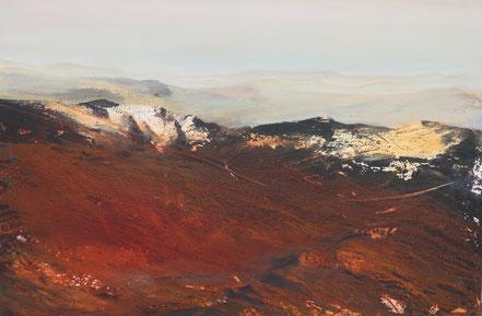 Abendlicht in den Bergen, Berge, Abstrakt, Landschaft, Sonnenuntergang, Ingrid Behringer