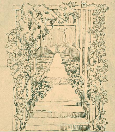 Bild: Irisgarten im Friedhof Brüssel-Evere von Leberecht Migge, Bleistift auf Papier, ASLA Archiv für Schweizer Landschaftsarchitektur
